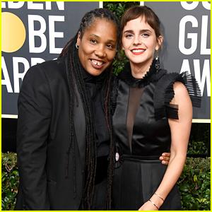 Emma Watson & Women's Group Leader Marai Larsai Walk Golden Globes 2018 Carpet Together