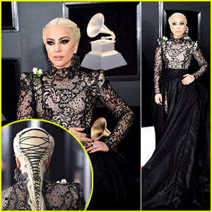 Lady Gaga Rocks a Long Dress, Long Braid & White Roses at Grammys 2018