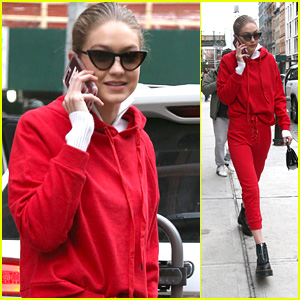 Gigi Hadid Rocks a Red Outfit While Out & About in NYC!