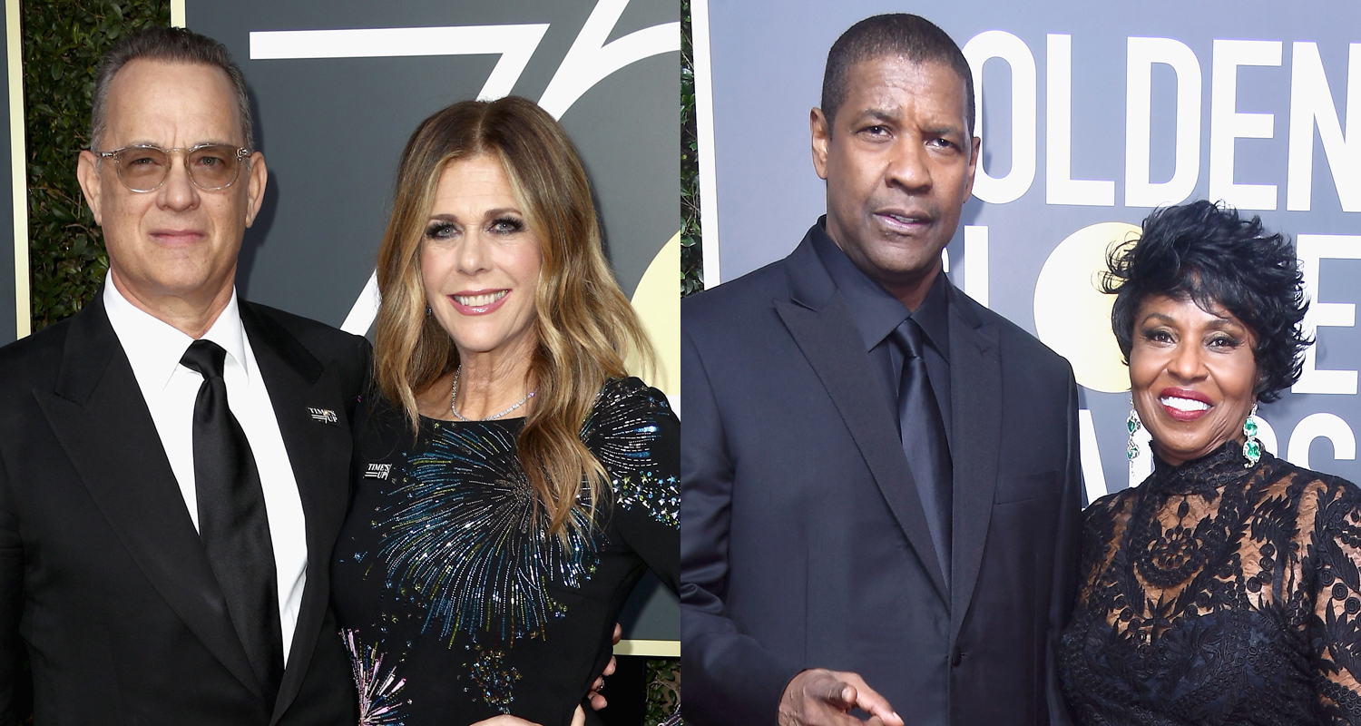 Tom Hanks amp Denzel Washington Are Joined By Their Leading Ladies At Golden Globes 2018