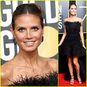Heidi Klum Looks Glam in Black on the Red Carpet at Golden Globes 2018!