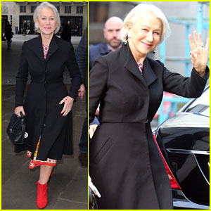 Helen Mirren Sports Colorful Dress for BBC Radio 1 Appearance