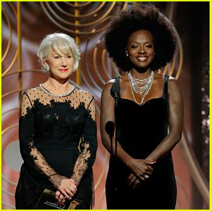Helen Mirren & Viola Davis Present Together at Golden Globes 2018!