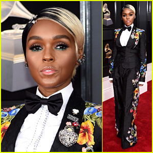 Janelle Monae Suits Up With Florals on the Red Carpet at Grammys 2018
