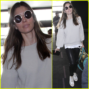 Jessica Biel Rocks Leather Pants For Her Flight Out of LAX