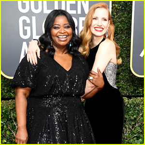 The Help's Jessica Chastain & Octavia Spencer Reunite at Golden Globes 2018!