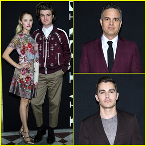 Joe Keery & Maika Monroe Join Mark Ruffalo & Dave Franco at Valentino Show