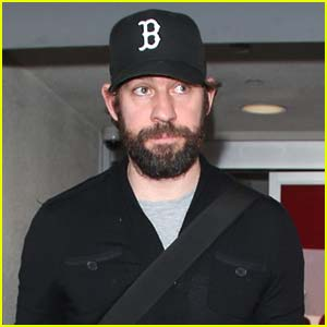 John Krasinski Rocks Full Beard Arriving at LAX!