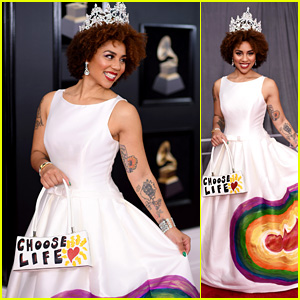 Joy Villa Wears Anti-Abortion 'Choose Life' Outfit at Grammys 2018
