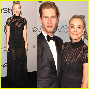 Kaley Cuoco Cozies Up to Fiance Karl Cook at InStyle's Golden Globes 2018 After Party