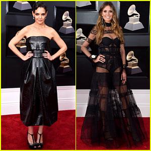 Katie Holmes & Heidi Klum Are Beauties in Black at Grammys 2018