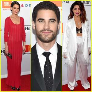 Katie Holmes, Darren Criss, & Priyanka Chopra Attend Pre-Grammys Party
