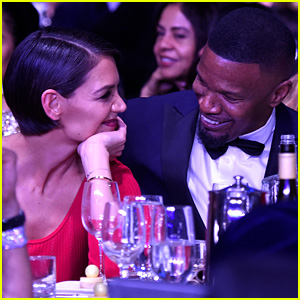 Katie Holmes & Jamie Foxx Can't Stop Smiling at Clive Davis' Grammys Party (Photos)