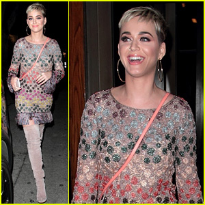 Katy Perry Wears a Colorful Dress & Thigh High Boots at Dinner