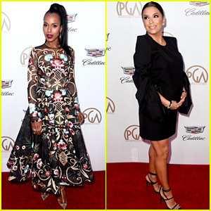 Kerry Washington & Pregnant Eva Longoria Glam Up for Producers Guild Awards 2018