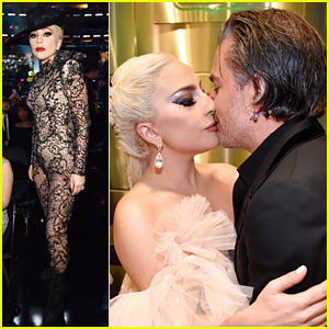 Lady Gaga Kisses Rumored Fiance Christian Carino Backstage at Grammys 2018, Changes Into Sheer Jumpsuit