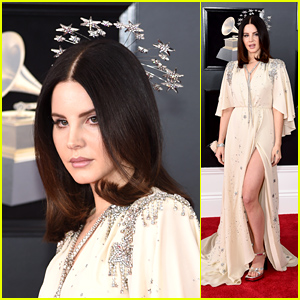 Lana Del Rey Wears a Starry Crown on the Red Carpet at Grammys 2018!