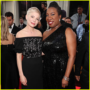 Michelle Williams Joins 'Me Too' Movement Founder Tarana Burke at Golden Globes 2018