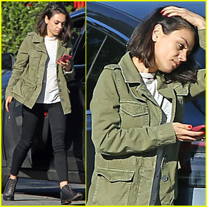Mila Kunis Sports Olive Green Coat While Out in Studio City