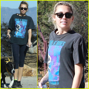 Miley Cyrus Takes Her Dog for a Hike in Studio City