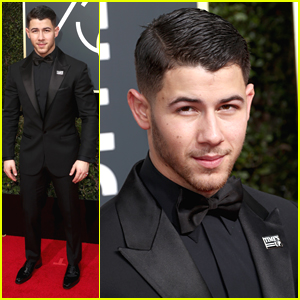 Nick Jonas Wears Time's Up Pin Proud at Golden Globes 2018