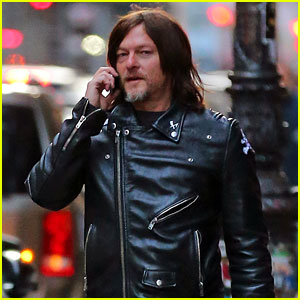 Norman Reedus Rocks Black Leather Jacket While Out in NYC