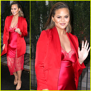 Pregnant Chrissy Teigen Is Red Hot in a Lace Dress