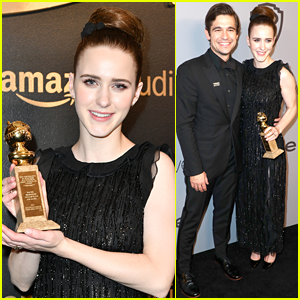 Globe Winner Rachel Brosnahan's Partner Jason Ralph Joins Her at Amazon After Party!