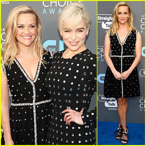 Reese Witherspoon & Emilia Clarke Pose in Polka-Dots at Critics' Choice Awards 2018