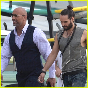 Russell Brand Joins Dwayne 'The Rock' Johnson on 'Ballers' Set