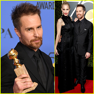 Sam Rockwell Wins Best Supporting Actor at Golden Globes 2018, Walks Carpet with Leslie Bibb!
