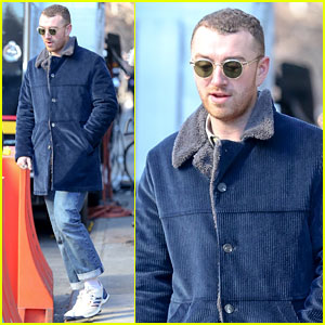 Sam Smith Bundles Up in Blue Ahead of Grammys Performance