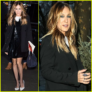 Sarah Jessica Parker Stuns in Sequin Dress While Arriving for 'Colbert' Appearance