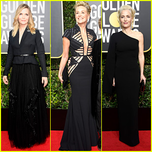 Michelle Pfeiffer, Sharon Stone & Gillian Anderson Hit the Red Carpet at Golden Globes 2018!