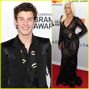 Shawn Mendes & Bebe Rexha Step Out for Clive Davis' Pre-Grammys Party