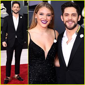 Thomas Rhett & Wife Lauren Akins Wear Matching White Roses at Grammys 2018