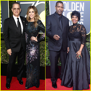 Tom Hanks & Denzel Washington are Joined by Their Leading Ladies at Golden Globes 2018