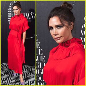 Victoria Beckham Goes Glam in Red at 'Vogue Spain' Dinner