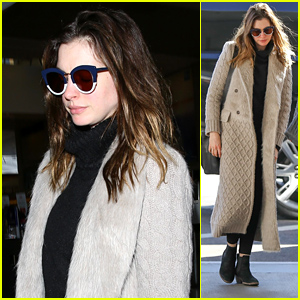 Anne Hathaway Bundles Up in a Long Coat as She Heads Out of Los Angeles!