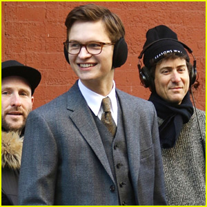 Ansel Elgort Suits Up on Set of 'The Goldfinch' in NYC