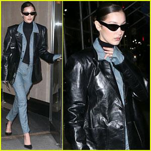 Bella Hadid Rocks Denim & Leather for Modeling Agency Visit