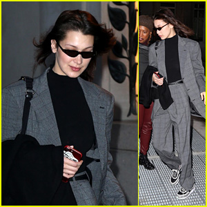 Bella Hadid Steps Up in a Grey Suit During NYFW 2018!