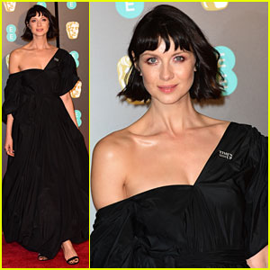 Caitriona Balfe Wears Off The Shoulder Dress to BAFTAs 2018