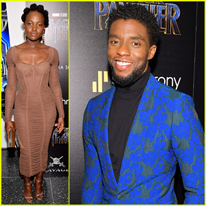 Chadwick Boseman Lupita Nyong O Black Panther Cast Screen The Movie In Nyc Black Panther Chadwick Boseman Danai Gurira Letitia Wright Lupita Nyong O Michael B Jordan Ryan Coogler Winston Duke