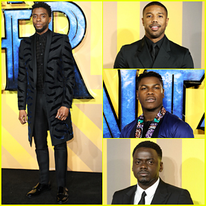 Chadwick Boseman, Michael B. Jordan & Daniel Kaluuya Are Joined by John Boyega at 'Black Panther' European Premiere!