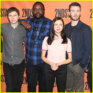 Chris Evans & Michael Cera Help Celebrate Unveiling of Broadway's Hayes Theater!