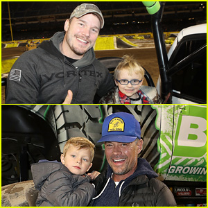 Chris Pratt & Josh Duhamel Hang with Their Kids at Monster Jam!
