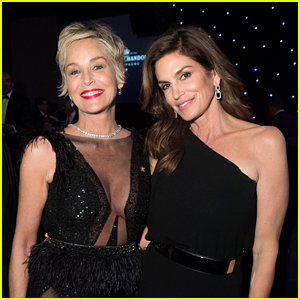 Sharon Stone & Cindy Crawford Look Chic at Forbes Travel Guide Dinner