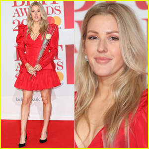 Ellie Goulding Carries Her White Rose at Brit Awards 2018