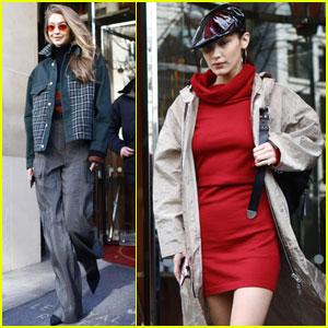 Gigi & Bella Hadid Look So Chic During Paris Fashion Week